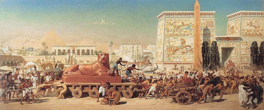 Mısır'daki İsrailoğulları. (Edward Poynter, 1867). Tevrat'taki anlatıma göre, İsrailoğulları Mısır'da kaldıkları 430 yıl boyunca Mısırlılara kölelik yaptı.