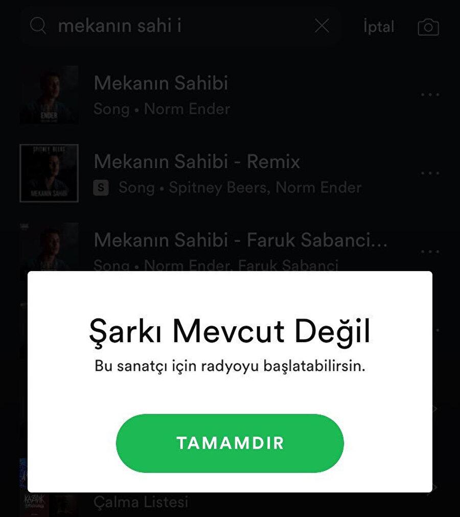 Spotify, Norm Ender'in 'Mekanın Sahibi' şarkısını kaldırdı.