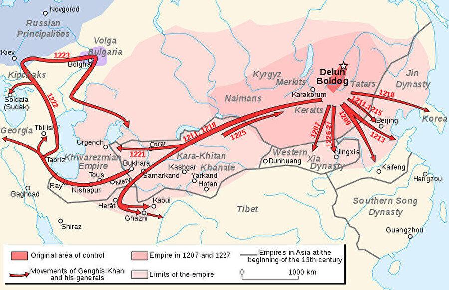 Moğolların istila ettikleri yerlerin haritası.