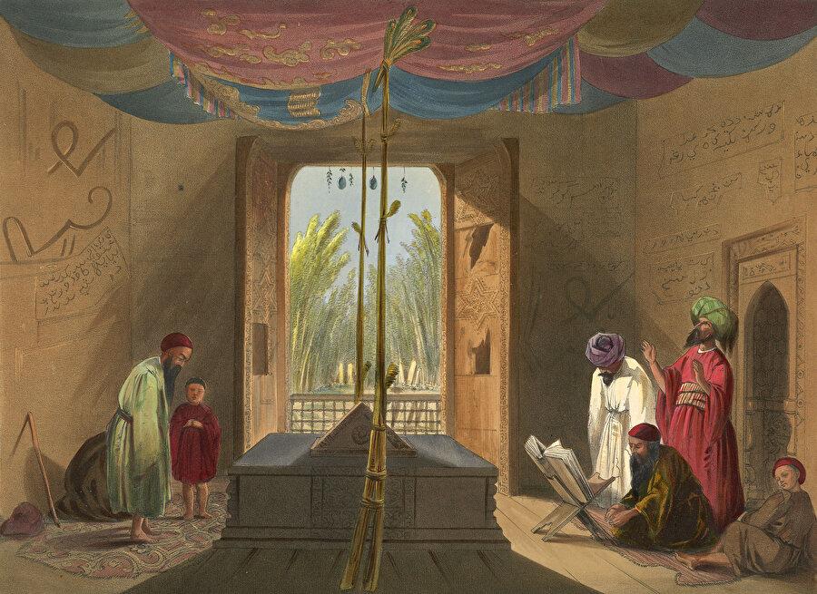 Gazneli Mahmud'un mezarını tasvir eden oryantalist bir tablo.