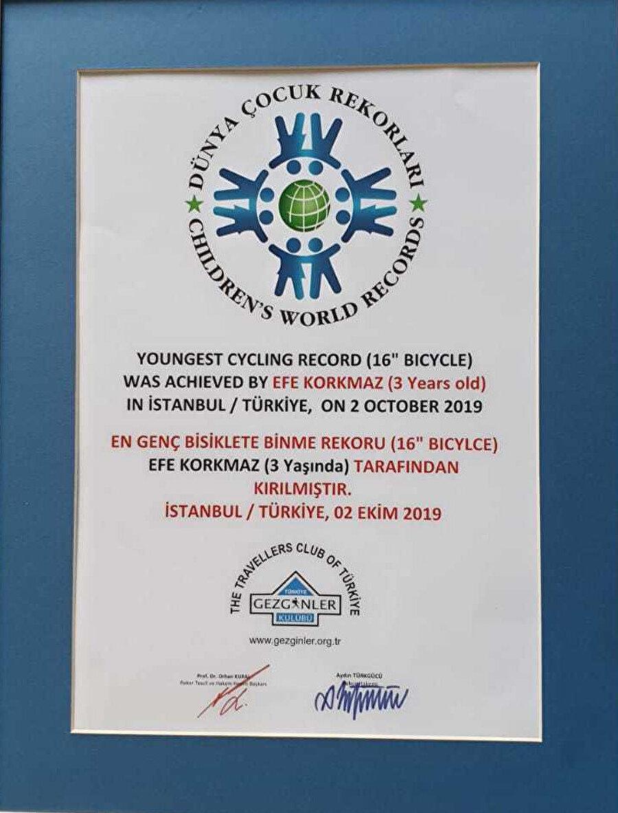 Korkmaz'ın sertifikası