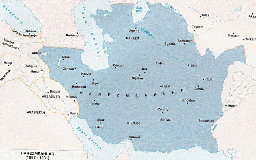 Harizmşahlar'ın yayıldığı alanları gösteren bir harita.