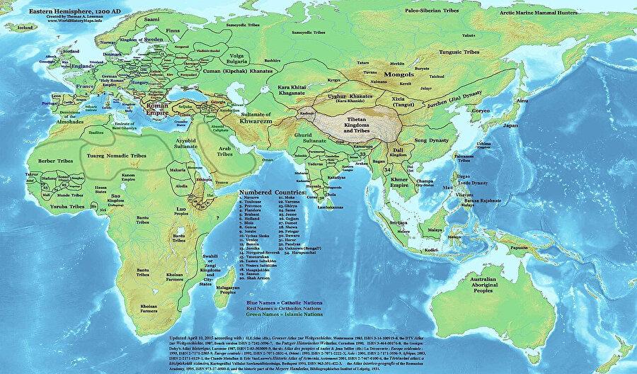 Harizmşahlar döneminde dünya çapında hakimiyet kuran diğer devletler.