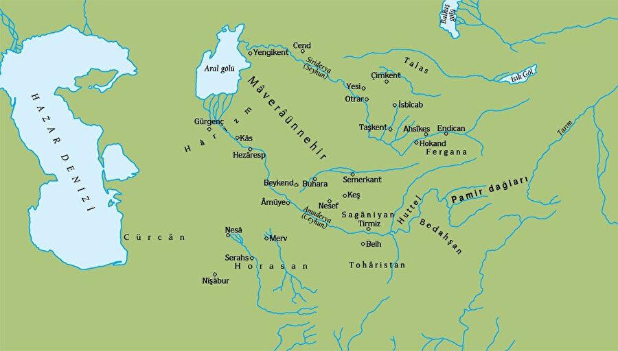 Seyhun ve Ceyhun nehirleri arasında kalan Maveraunnehir olarak adlandırılan bölge.
