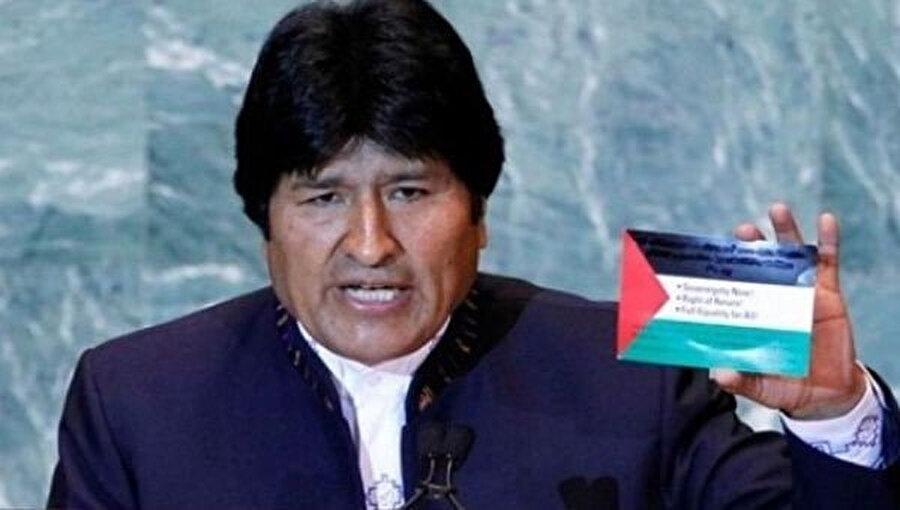 Evo Morales, katıldığı uluslararası platformlarda Filistin'e yönelik destek açıklamalarında bulunuyordu.