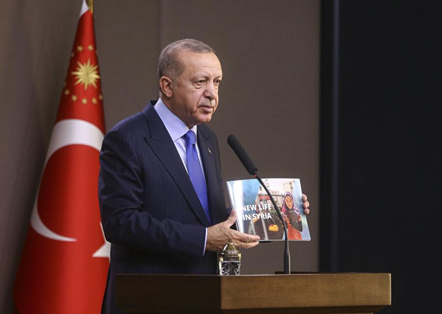Cumhurbaşkanı Erdoğan, Ankara Esenboğa Havalimanı'nda açıklamalarda bulundu.