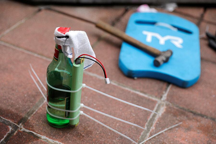 Protestolarda kullanılan el yapımı bir patlayıcı.