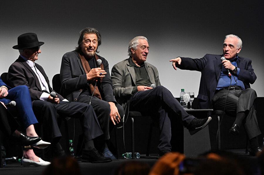 The Irishman'ın kadrosundan Al Pacino ve yönetmen Martin Scorsese.