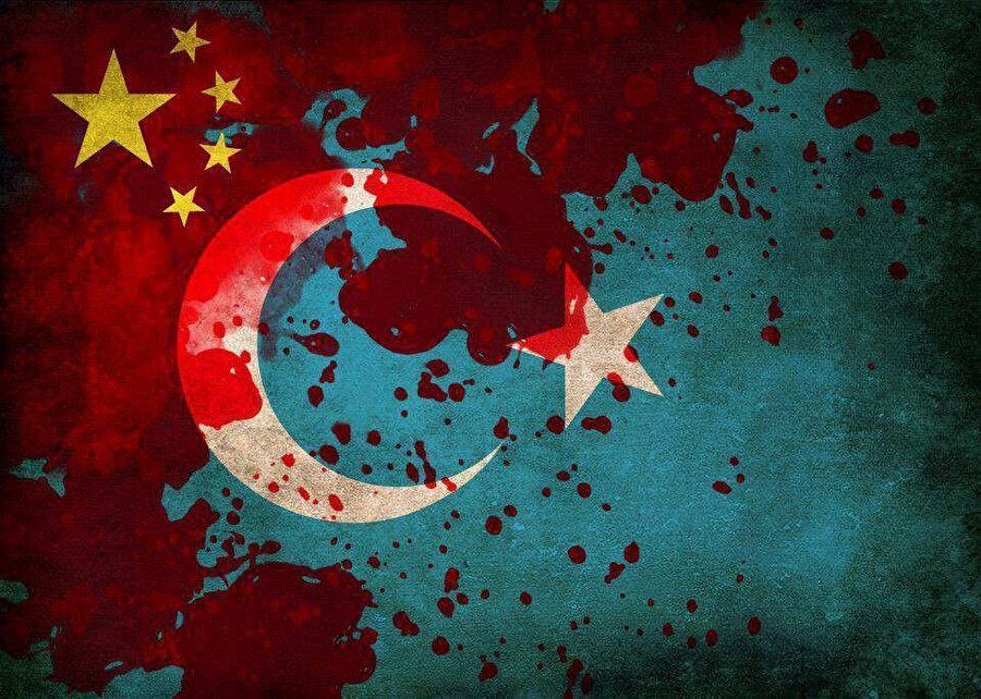 Çin- Doğu Türkistan bayrakları- Arşiv