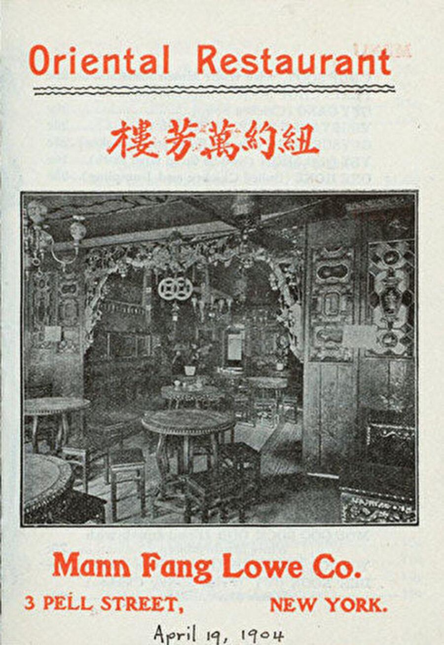 Amerika'da açılan eski Çin restoranlarından birinin reklamı
