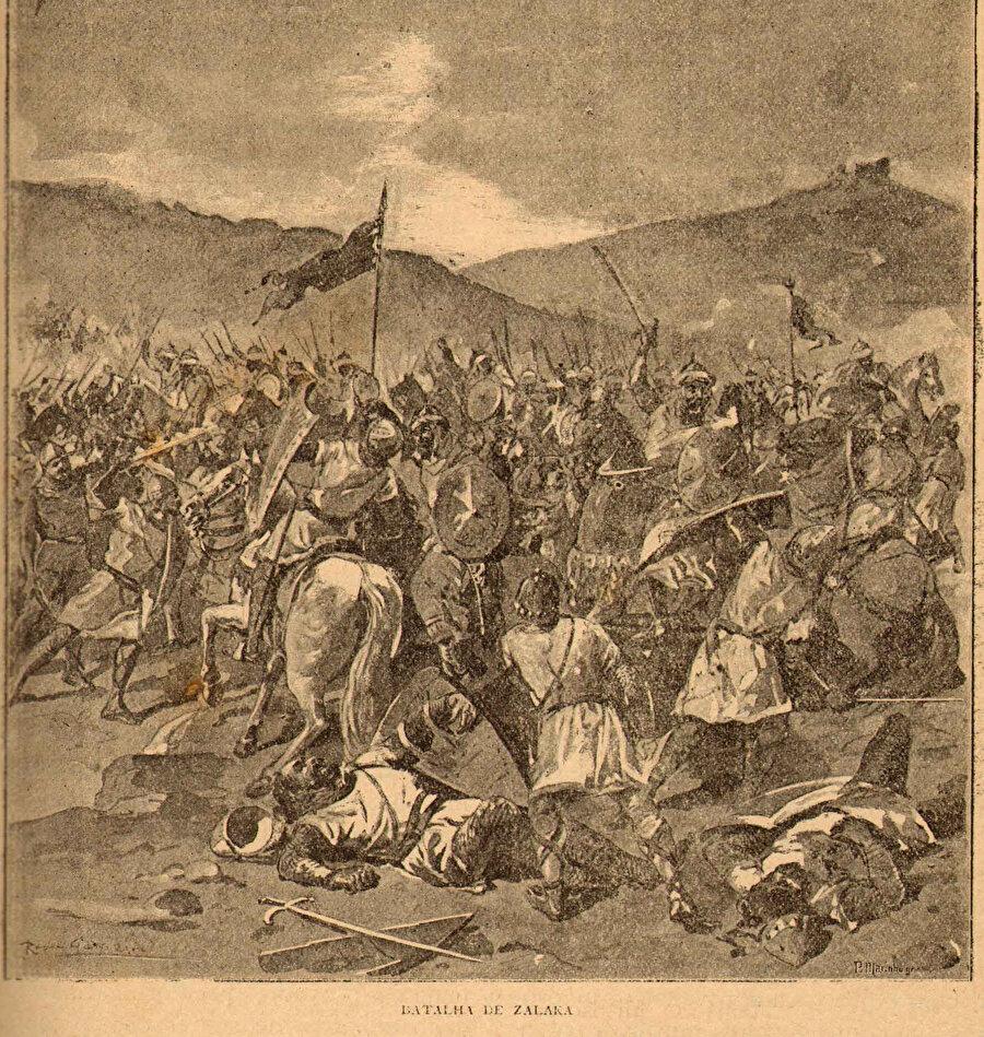 Portekizli ressam Alfredo Roque Gameiro'ya ait Zellâka Savaşı'nı tasvir eden bir resim.