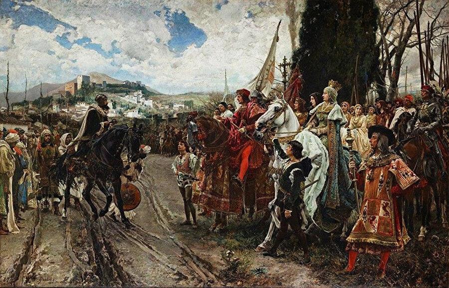 İspanyol Ressam Francisco Pradilla Ortiz tarafından çizilen, son Nasrî Hükümdarı Ebû Abdullah'ın Kral Ferdinand ile Kraliçe İsabel'in karışışında resmedildiği ve Gırnata'nın devredilmesinin tasvir edildiği resim.
