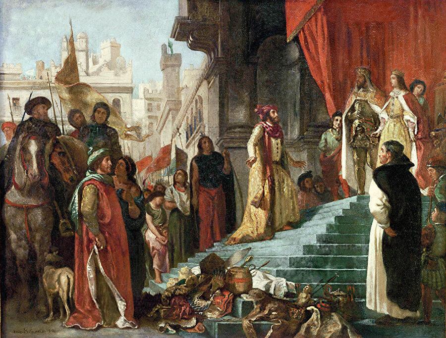 Fransız Ressam Eugene Delacroix'a ait; Kristof Kolomb'u, seyahatlerinin sponsoru olan Ferdinand ve İsabel çiftinin önünde tasvir eden resim.