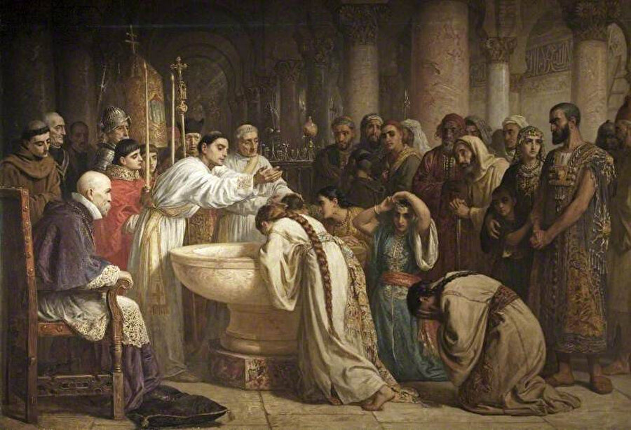 İngiliz Ressam Edwin Long'a ait, Gırnata'daki Müslümanların toplu vaftizlerinin tasvir edildiği resim.