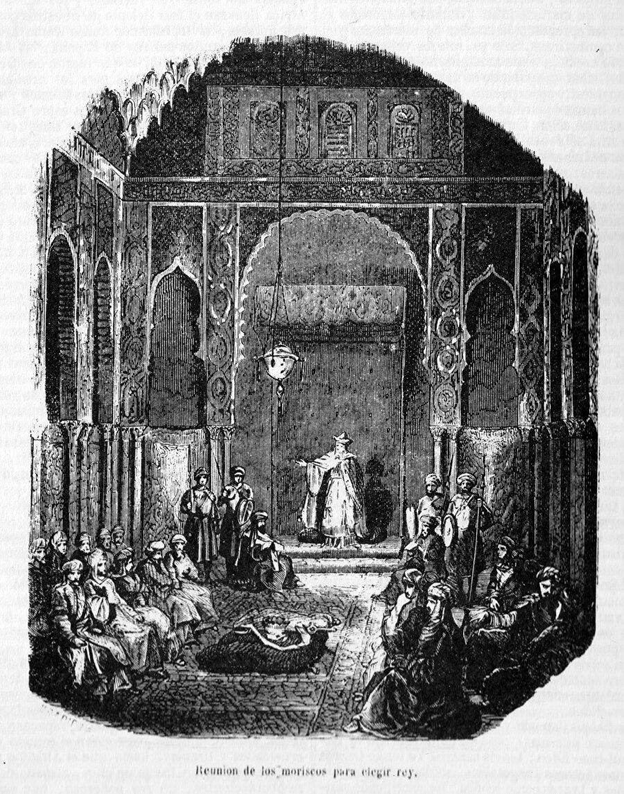 Bin Umeyr'in taç giyme seremonisini tasvîr eden bir gravür.