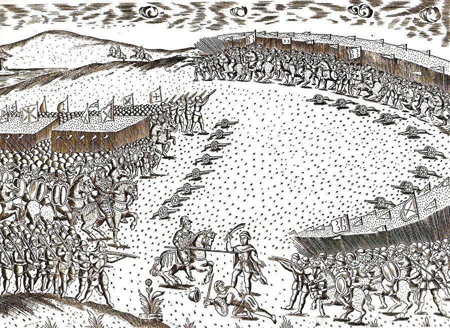 Portekiz ordusunun Osmanlı ordusu tarafından tatbik edilen hilal taktiği ile kuşatıldığını tasvir eden, Vâdisseyl Muhârebesi'ni gösteren bir gravür.
