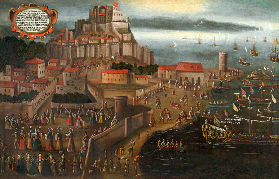 Ressam Vicente Mestre'nin, Moriskoların Denia Limanı'ndan çıkışlarını tasvir ettiği resmi.