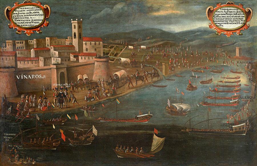 İspanyol Ressam Pere Oromig'in, Moriskoların Vinaros Limanından çıkışlarını tasvir ettiği resmi.