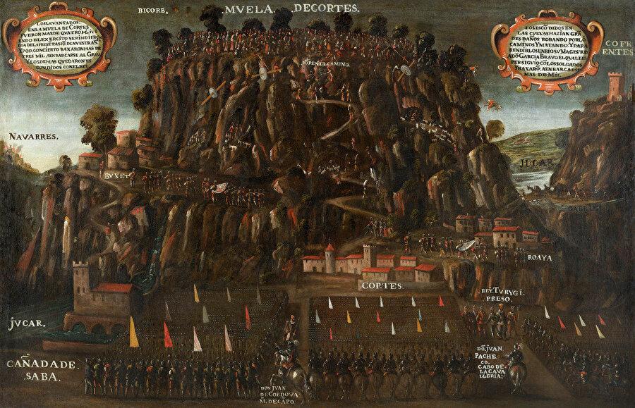 """Ressam Vicent Mestre'nin Moriskoların son isyanlarını tasvir ettiği """"Muela Cortes Moriskolarının Ayaklanması"""" isimli resmi."""