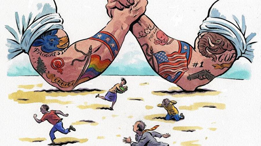 Kültür savaşını anlatmak için tasarlanmış bir illustrasyon.
