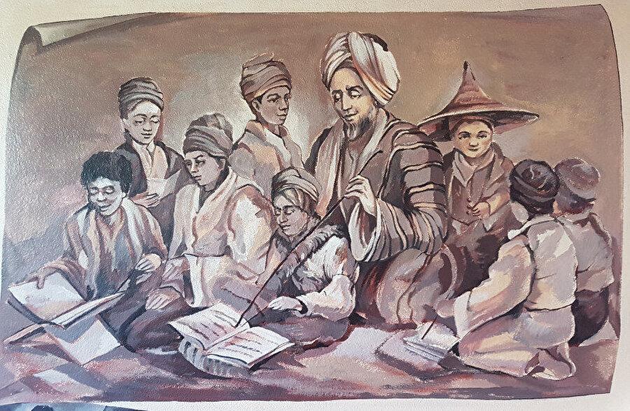 Tuan Guru'yu (İmam Abdullah) medresede öğrencilerine ders verirken gösteren bir çizim. Bo-Kaap, Cape Town.
