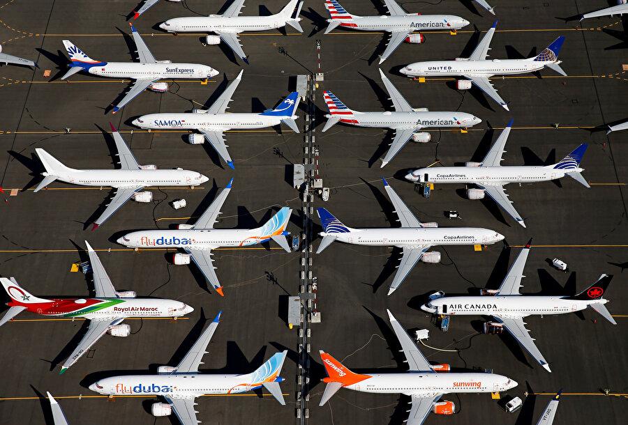 Yere indirilen uçaklar havadan görüntülendi.