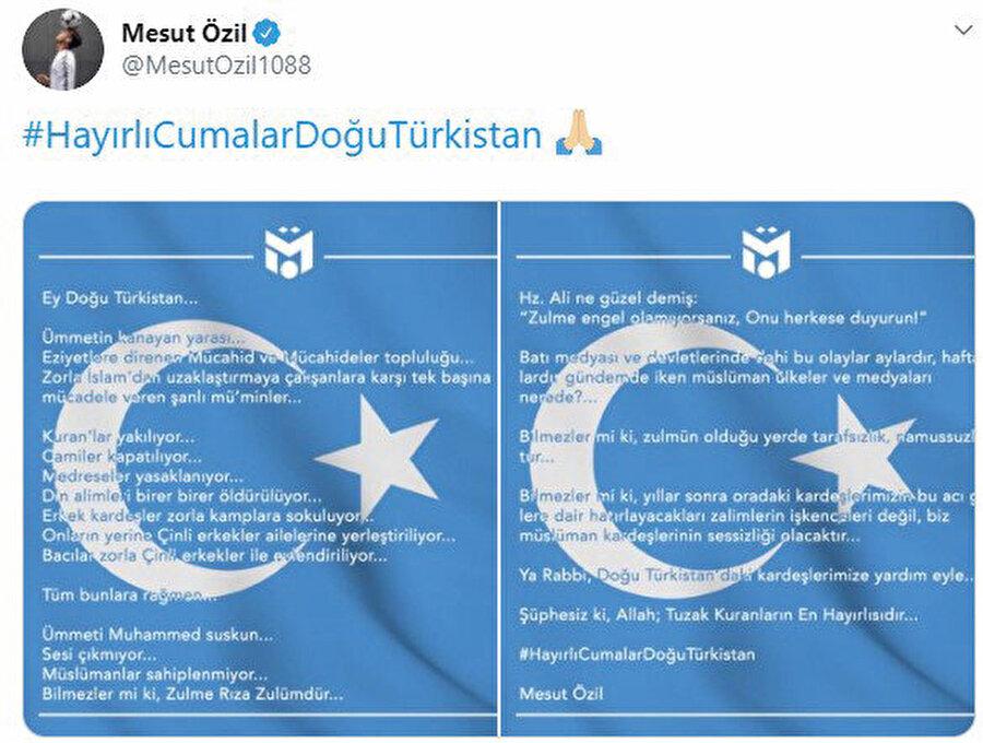 Arsenal forması giyen Türk kökenli Alman vatandaşı Mesut Özil, sosyal medyadaki paylaşımında Doğu Türkistan'dan ''zulme direnen mücahitler'' diye söz etmişti.