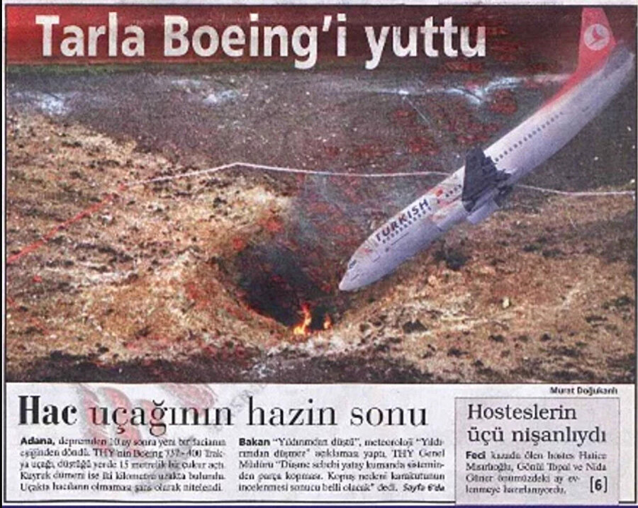 7 Nisan'da 1999'dan Adana'da tarlaya düşen Boeing 737-400 uçağının gazete haberi