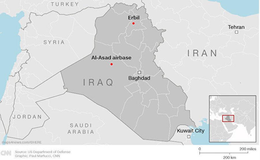 Irak'taki ABD üsleri.