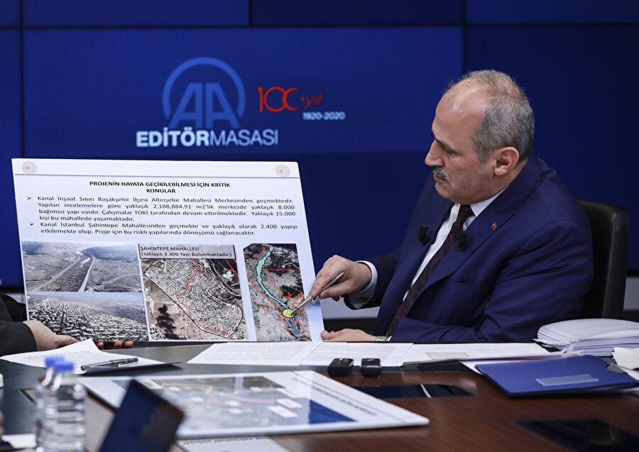 Ulaştırma ve Altyapı Bakanı Mehmet Cahit Turhan, Kanal İstanbul ile ilgili bilgi verirken