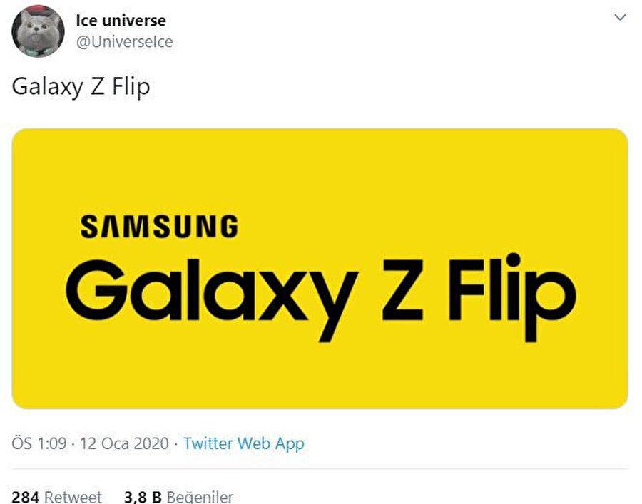 Ice Universe, Samsung'un yeni katlanabilir telefonunun Galaxy Z Flip ismiyle çıkacağını bildiriyor.
