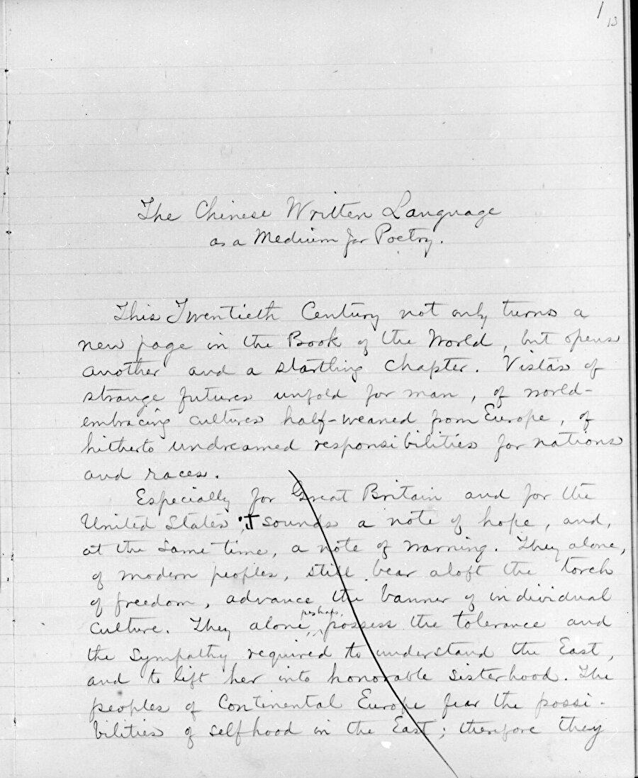 Ezra Pound'un Çin yazısı üzerine yazmaya başladığı yazının müsveddesi