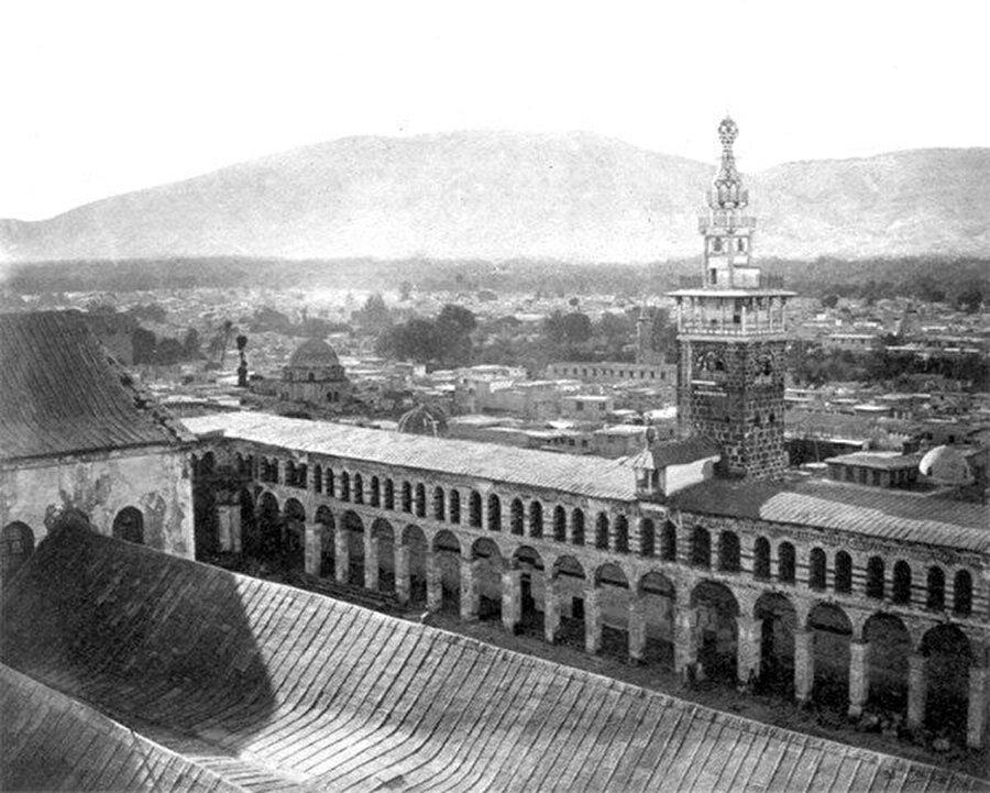 Emevî Camii'nin avlusunun tarihî bir fotoğrafı...