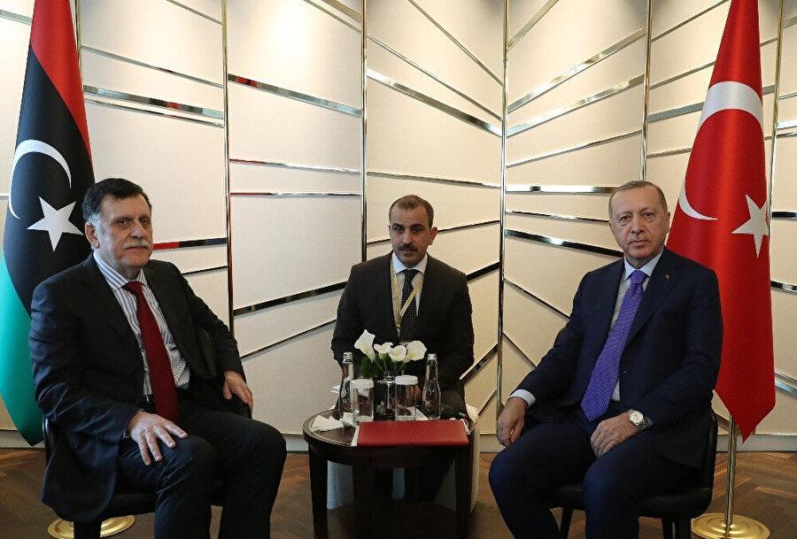 Cumhurbaşkanı Erdoğan'ın Libya Ulusal Mutabakat Hükümeti Başbakanı Serrac ile görüşmesinden