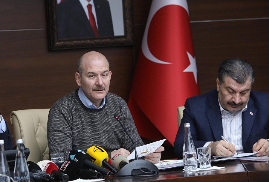 İçişleri Bakanı Süleyman Soylu basın toplantısında açıklamalarda bulunurken