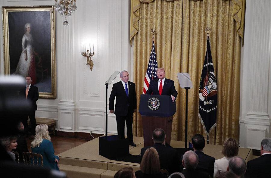 Sözde Orta Doğu barış planı Beyaz Saray'da düzenlenen ortak basın toplantısında açıklandı.