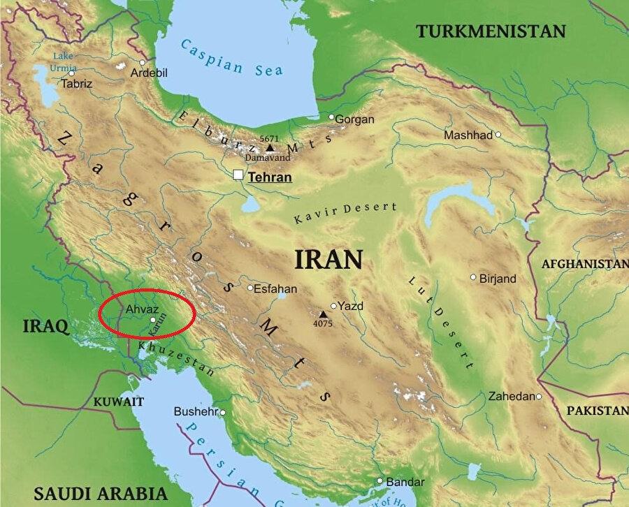 İran fiziki haritası.