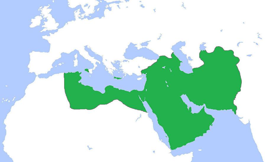 İran'ı da kapsayan Abbasi Devleti'nin ulaştığı en geniş sınırlar.