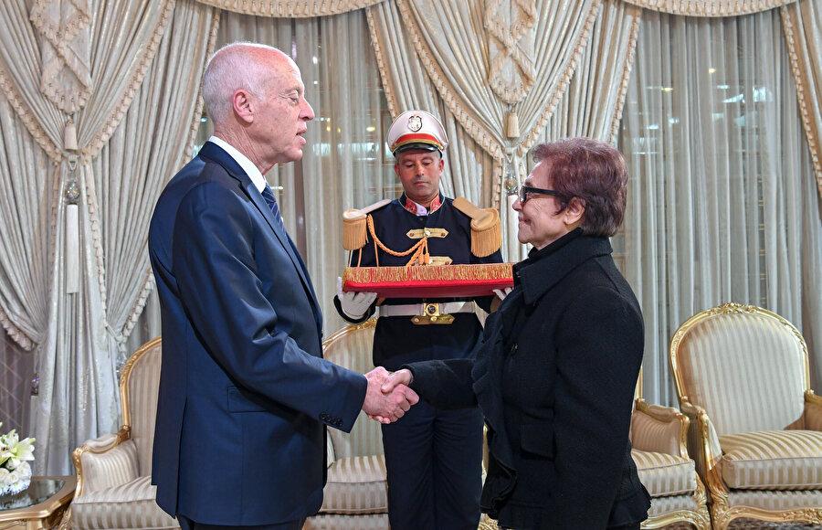 Tunus Cumhurbaşkanı Kays Said Tunus Cumhuriyet Nişanı takdimi.