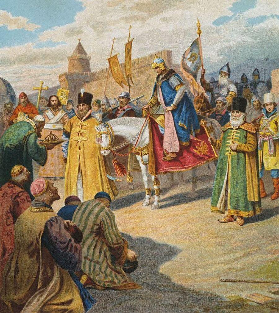 Rus Çarı IV. Ivan Kazan topraklarında. (Çizer: Pyotr Korovin)