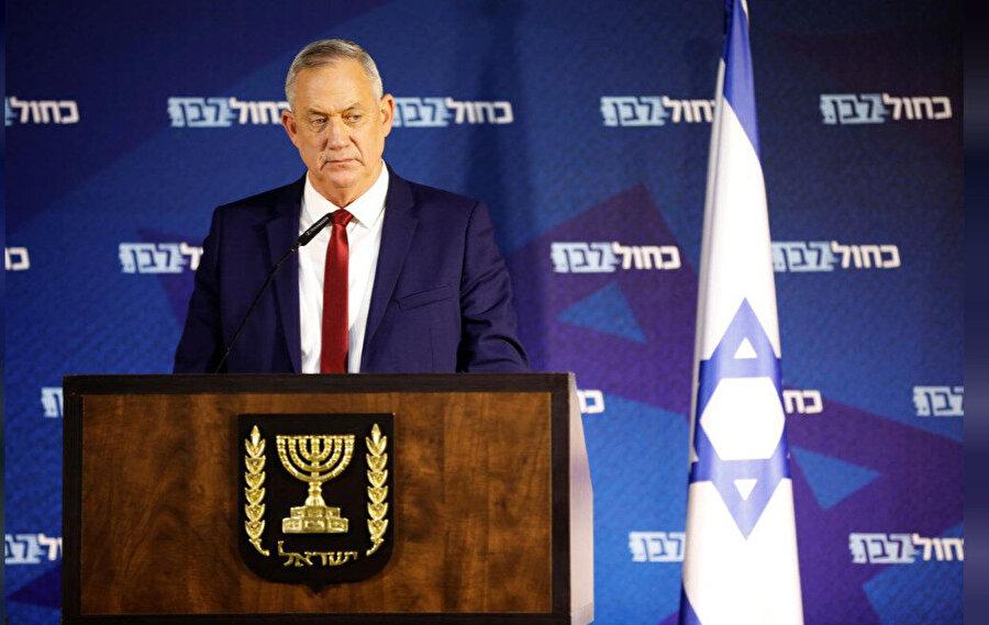 Mavi-Beyaz İttifakının lideri eski İsrail Genelkurmay Başkanı Benny Gantz.