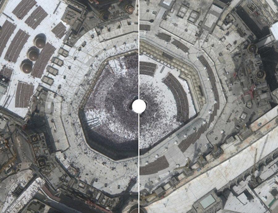 Solda, 14 Şubat 2020'de çekilen fotoğrafta tavaf edenlerin yoğunluğu dikkat çekerken 5 Mart 2020'de çekilen sağdaki fotoğrafta sayının ne kadar azaldığı açıkça görülüyor.