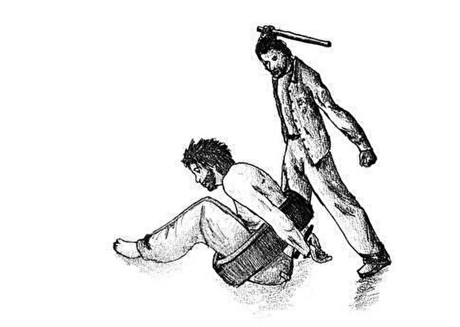 """Muhammed Hamdun tarafından çizilen resimde Esed rejiminin hapishanelerde uyguladığı işkence yöntemlerinden biri olan """"tekerlek"""" görülüyor."""
