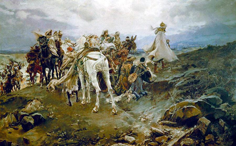 Francisco Pradilla, Gırnata'nın düşüşüyle Mağrib'e sürülen Emir Ebû Abdullah'ın maiyetiyle birlikte ayrıldıkları kente tepenin üzerinden son kez dönüp bakmalarını tasvir etmiş.