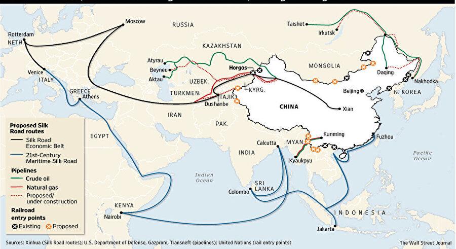 Çin'i Asya, Afrika ve Avrupa'ya karayolu, demiryolu ve denizyoluyla bağlayacak bir dev proje.