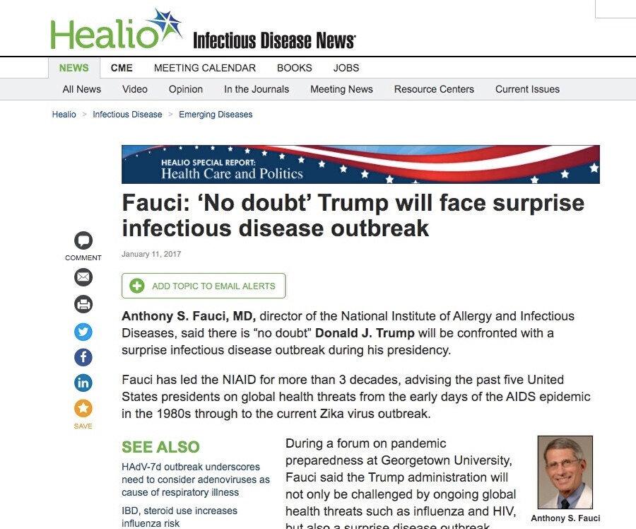 11 Ocak 2017 tarihli haberde Dr. Fauci'nin açıklamalarına yer verildi (Healio)