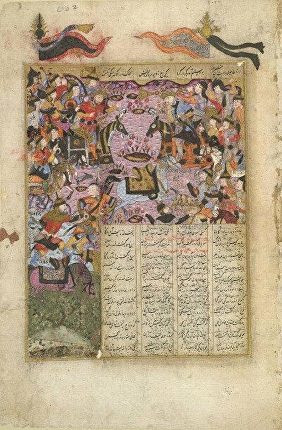 Şehname'de Kâdisiye Savaşı'nı tasvir eden bir minyatür.