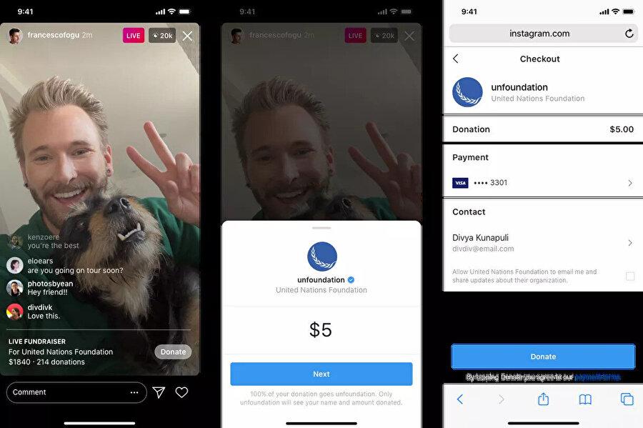 Instagram, küçük işletmeleri desteklemek için canlı yayında bağış sistemini de aktif hale getirdi.