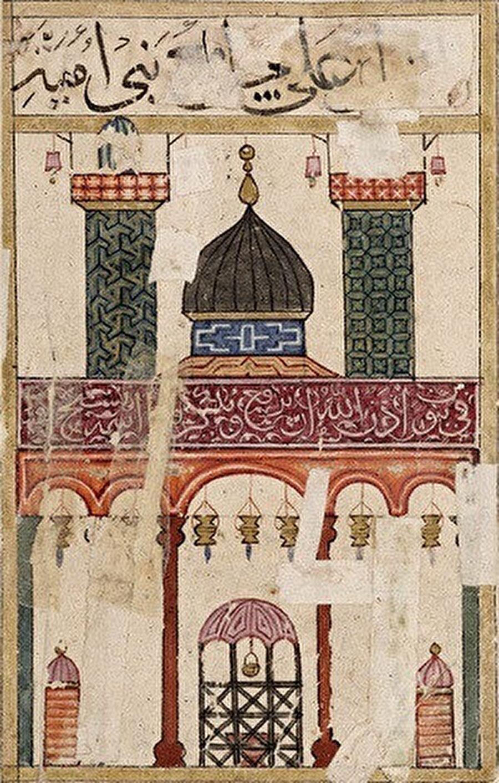 14. yüzyılın sonlarında kalma el yazması olan Kitab'el Bulhan'da Emevî Camisi'nin tasviri.