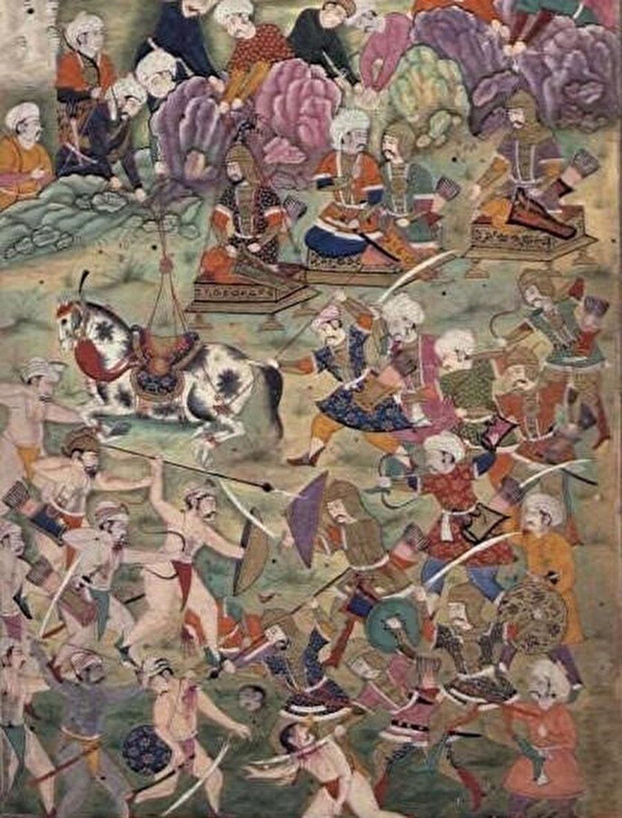 Ankara Savaşı'nın tasviri. Savaşta, Yıldırım Bayezid, Timur'un bütün seferleri sırasında yanında bulundurduğu sadık adamlarından Mahmud Han tarafından esir alınmıştı.
